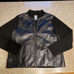 Pendleton SZ L petite leather/wool jacket